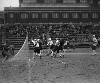 1926 photo Lacross game, U. of Md. & Oxford Cambridge team, 4/2/26 Vintage Bl a7