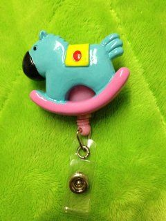 Blue Rocking Horse (3D) Pink Badge Reel ID Badge Holder : Office Products