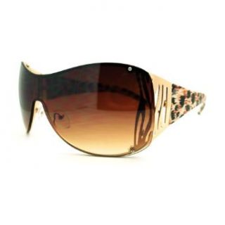Oversized Shield Sunglasses Womens Trendy Sexy Animal Prints Gold Leopard Clothing
