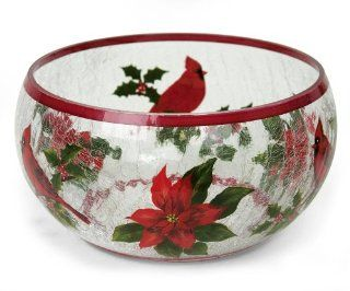 Heaven & Nature Sing Hand painted Crackle Glass Bowl Serveware Kitchen & Dining