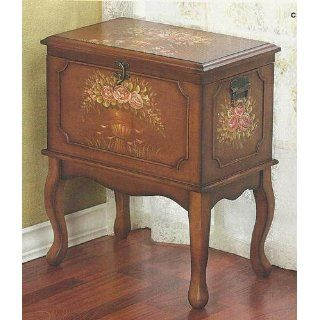 Victorian Hand Painted Floral Wood Hope Chest Cabinet   Storage Chests