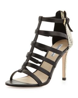 Idealize Snakeskin Strappy Sandal, Black   Charles David