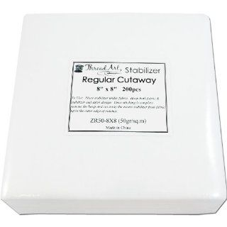 Regular Weight Cutaway Embroidery Stabilizer   8x8 200 Precut Sheets   Cutaway/Tearaway/Washaway Available in Rolls and Precut Sheets   by Threadart