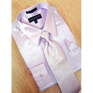 Daniel Ellissa Lavender Satin Dress Shirt/Tie/Hanky Set (M) at  Men�s Clothing store
