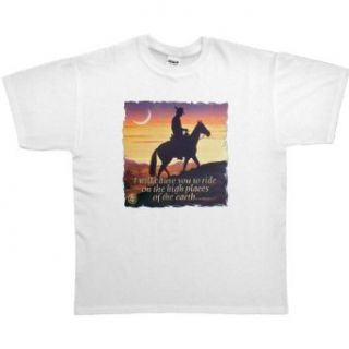 MENS T SHIRT  PINK   SMALL   I Will Cause You To Ride On The High Places Of The Earth   Christian Cowboy Horse Clothing