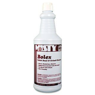 Misty Products   Misty   Bolex 23 Percent Hydrochloric Acid Bowl Cleaner, 32 oz. Bottle, 12/Carton   Sold As 1 Carton   Highly concentrated; dissolves organic encrustations, scale and stains.   Contains blend of detergent, inorganic acid, wetting agents an