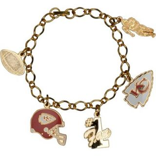 Kansas City Chiefs Ladies Multi Charm Bracelet   Gold Tone