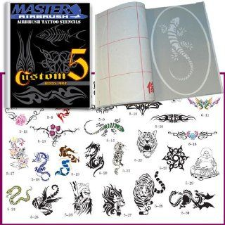Master Airbrush� Brand Airbrush Tattoo Stencils Set Book #5 Reuseable Tattoo Template Set, Book Contains 30 Unique Stencil Designs, All Patterns Come on High Quality Vinyl Sheets with a Self Adhesive Backing.