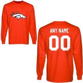 Denver Broncos Custom Any Name & Number Long Sleeve T Shirt   Orange