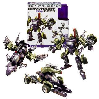 Hasbro Year 2013 Transformers Construct Bots Series 6 Inch Tall Triple Changers Class Robot Action Figure Set #E102   Decepticon BLITZWING with Alternative Mode as Tank or Fighter Jet (Total Pieces 67) Toys & Games