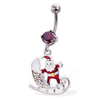 Santa With Sled Christmas Belly Button Ring Jewelry