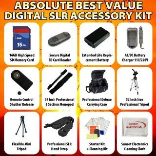 Absolute Best Value Digital SLR Accessory Kit For the Canon EOS 20D 30D 40D 50D Digital SLR Camera Package Includes 16GB Hi Speed Error Free Memory Card, SD Card Reader, 2 Extended Life Replacement Battery Packs, 1 Hour Home & Car Charger, 52 Inch Prof