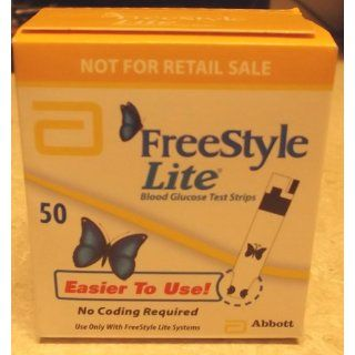Freestyle LITE Blood Glucose Test Strips NEW Butterfly Design 1 box of 50 Health & Personal Care
