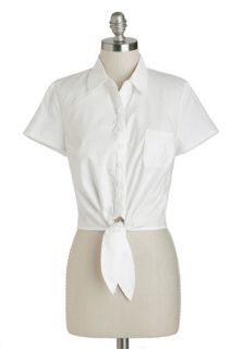 Tatyana/Bettie Page Little White Tie Top  Mod Retro Vintage Short Sleeve Shirts