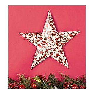 Holiday Red & White Damask Barn Star : Decorative Hanging Ornaments : Everything Else