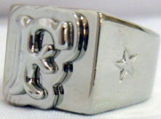 CHAPTER 2 Alphabet LETTER F Monogram Chrome Ring   7 at  Men�s Clothing store: Apparel Belts