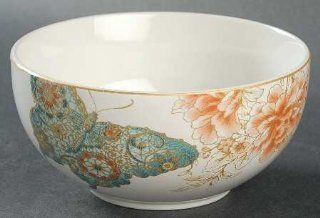 222 Fifth (PTS) Zoe Butterfly Soup/Cereal Bowl, Fine China Dinnerware: Kitchen & Dining