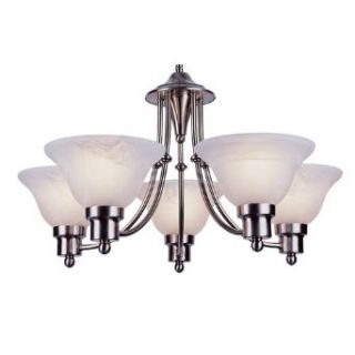Trans Globe PL 6545 BN Payson   Five Light Mini Chandelier, Brushed Nickel Finish with Alabaster Glass