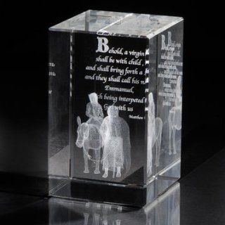 "Shop LDS Journey to Bethlehem 50 x 50 x 80mm Crystal Cube   Christmas Home Decor   ""Behold a virgin shall be with child, and shall bring forth a son, and they shall call his name Emanuel, which being interpreted is, God with us."" at the  Home D�c"