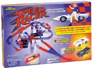 Speed Racer Grand Prix Challenge Race Track Set By Darda. Featuring 2 ultra speed Darda cars   Mach 5 & X Mobile. The worlds fastest motorized cars are self propelled with simple back and forth motion. Up to 600 scale mph. Without batteries or electric