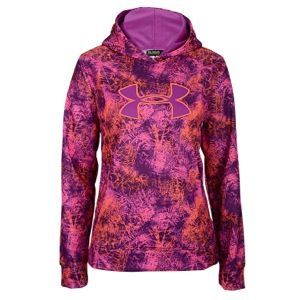 Under Armour Armour Storm Printed Big Logo Hoodie   Girls Grade School   Training   Clothing   Hyper Green/Strobe