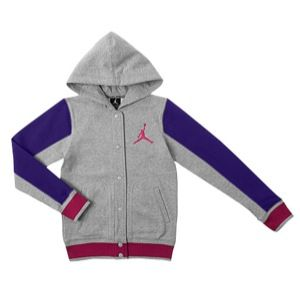 Jordan Varsity 2.0 Fleece Jacket   Girls Grade School   Basketball   Clothing   Grey Heather/Electro Purple/Pink Foil
