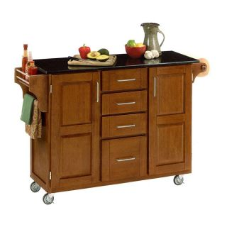 Deluxe Black Granite Top Kitchen Island with Cottage Oak Finish   Kitchen Islands and Carts