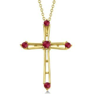 14K Gold Cross Necklace with Five Round Red Ruby Gemstones July Birthstone Cross for Women .34tcw: Pendants: Jewelry