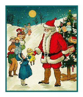 Counted Cross Stitch Chart Victorian Father Christmas Santa Giving Children Presents with Tree