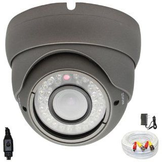 "1/3"" SONY Super HAD CCD II 650TVL Professional indoor vandalproof dome Surveillance Security Camera with 125ft BNC Cable & Power Adapter Kit   650 TV lines, 36 IR LEDs, Vari Focal 4~9mm Manual Zoom Lens. WDR(Wide Dynamic Range). OSD Menu. 0 Lux (w"