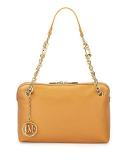 Saffiano Cow Detail Faux Leather Shoulder Bag, Camel   Love Moschino