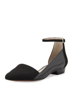 Avery Calf Hair Point Toe Flat, Black   10 Crosby Derek Lam   Black (35.0B/5.0B)
