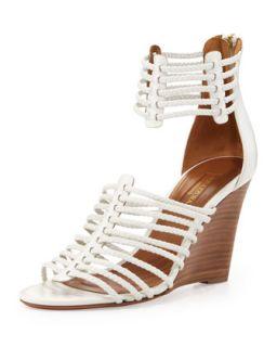 Venus Strappy Wedge Sandal, White   Aquazzura   White (40.5B/10.5B)
