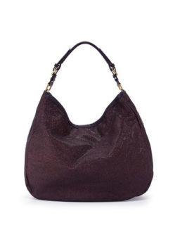 Noelle Glitter/Leather Hobo Bag, Purple   Oryany