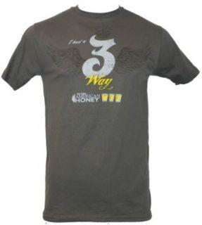 "Wild Turkey Whiskey Mens T Shirt   ""I Had a 3 Way "" American Honey Image (Extra Large) Dark Gray Clothing"