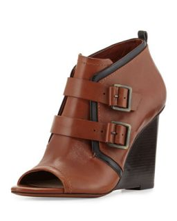 Zale Leather Buckle Wedge Bootie, Toffee   10 Crosby Derek Lam   Toffee (38.