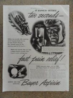 Bayer Aspirin, Vintage 40's full page print ad. (it happens within two seconds)Original vintage 1946 The Saturday Evening Post Magazine Print Art.