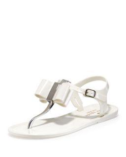 filo bow jelly thong sandal, cream   kate spade new york   Cream (37.0B/7.0B)