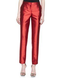 Womens Samantha Slim Shantung Pants, Coral   Michael Kors   Coral (2)
