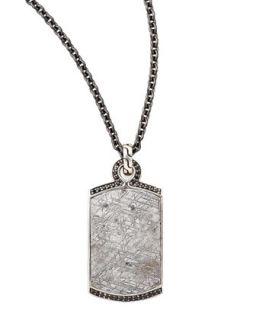 Batu Mens Meteorite & Black Sapphire Dog Tag Necklace   John Hardy   Sapphire