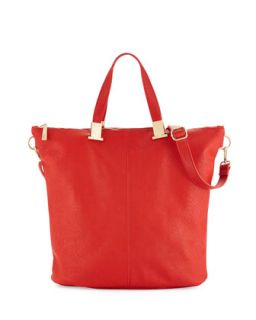 Corner Weathered Faux Leather Tote Bag, Coral   Violet Ray