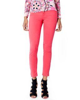 Womens Zipper Cuff Skinny Jeans   Emilio Pucci   Rasberry (44/10)