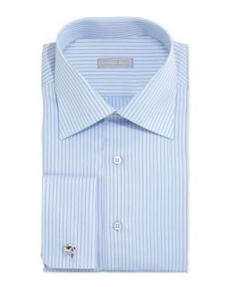 Mens Striped French Cuff Solid Dress Shirt, Light Blue   Stefano Ricci   Light