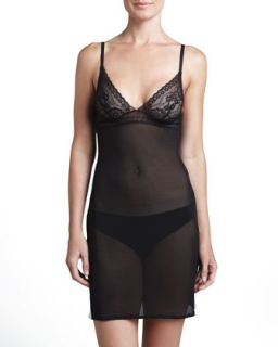 Womens Rosa Sheer Lace Cup Chemise   La Perla   Black (LARGE)