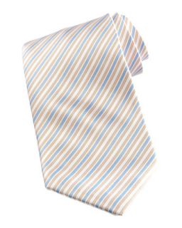 Mens Striped Tie, White/Blue   Stefano Ricci   White blue