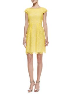 Womens Cecile Cap Sleeve Lace Dress   Shoshanna   Lemon drop (12)