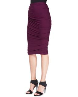 Womens Crush Ruched Jersey Skirt   Donna Karan   Berry (PETITE)