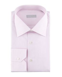 Mens 3 Row Striped Dress Shirt, Pink   Stefano Ricci   Pink (39/15.5)
