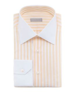 Mens Contrast Collar Striped Dress Shirt, Orange 20   Stefano Ricci   Orange