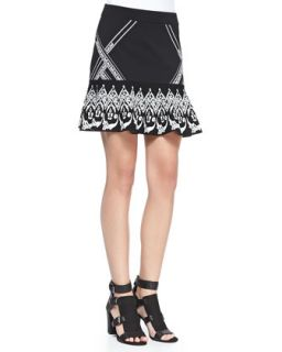 Womens Fowler Printed Sweater Skirt   Rebecca Minkoff   Black (LARGE)